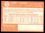 1964 Topps #474  Larry Sherry  Back Thumbnail