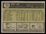 1961 Topps #153  Don Lee  Back Thumbnail