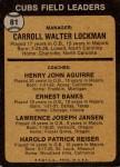 1973 Topps #81 SOL  -  Whitey Lockman / Hank Aguirre / Ernie Banks / Larry Jansen / Pete Resier Cubs Leaders Back Thumbnail