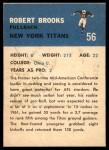 1962 Fleer #56  Robert Brooks  Back Thumbnail
