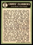 1967 Topps #63   -  Lou Brock / Curt Flood Cards Clubbers Back Thumbnail