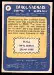 1969 Topps #82  Carol Vadnais  Back Thumbnail