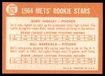 1964 Topps #576   -  Jerry Hinsley / Bill Wakefield Mets Rookies Back Thumbnail