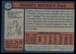 1974 Topps #175  Sidney Wicks  Back Thumbnail
