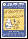 1969 Topps #69  Pat Stapleton  Back Thumbnail