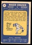 1969 Topps #55  Roger Crozier  Back Thumbnail