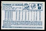 1978 Kellogg's #30  Thurman Munson  Back Thumbnail