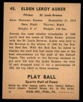 1941 Play Ball #45  Elden Auker  Back Thumbnail