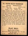 1941 Play Ball #10  Arky Vaughan  Back Thumbnail