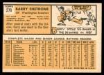 1963 Topps #276  Barry Shetrone  Back Thumbnail