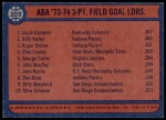 1974 Topps #209   -  Roger Brown / Billy Keller / Louie Dampier ABA 3-Pt Field Goal Leaders Back Thumbnail
