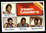 1975 Topps #124   -  Nate Archibald / Ollie Johnson / Sam Lacey Kings Leaders Front Thumbnail