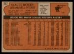 1972 Topps #297  Claude Osteen  Back Thumbnail
