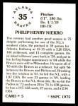 1976 SSPC #5  Phil Niekro  Back Thumbnail