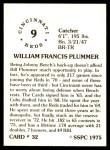 1976 SSPC #32  Bill Plummer  Back Thumbnail