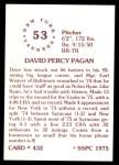 1976 SSPC #432  Dave Pagan  Back Thumbnail