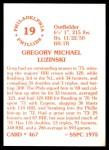 1976 SSPC #467  Greg Luzinski  Back Thumbnail