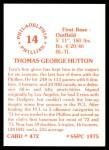 1976 SSPC #472  Tom Hutton  Back Thumbnail