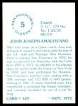 1976 SSPC #629  Joe Amalfitano  Back Thumbnail