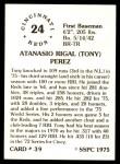 1976 SSPC #39  Tony Perez  Back Thumbnail