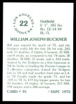 1976 SSPC #91  Bill Buckner  Back Thumbnail