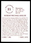 1976 SSPC #386  Bob Bailor  Back Thumbnail