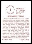 1976 SSPC #411  Bernie Carbo  Back Thumbnail