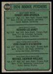 1974 Topps #608 ERR  -   Bob Apodaca / Dick Baney / John D'Acquisto / Mike Wallace Rookie Pitchers   Back Thumbnail