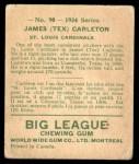 1934 World Wide Gum #90  James (Tex) Carleton  Back Thumbnail