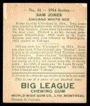 1934 World Wide Gum #31  Sam Jones  Back Thumbnail