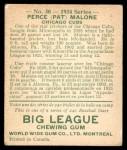 1934 World Wide Gum #30  Perce (Pat) Malone  Back Thumbnail
