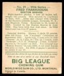 1934 World Wide Gum #19  Fred Frankhouse  Back Thumbnail