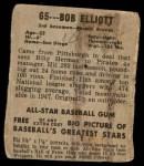 1948 Leaf #65  Bob Elliott  Back Thumbnail