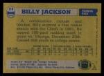 1982 Topps #118  Billy Jackson  Back Thumbnail