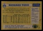 1982 Topps #181  Richard Todd  Back Thumbnail