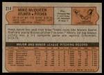 1972 Topps #214  Mike McQueen  Back Thumbnail