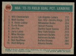1973 Topps #155   -  Wilt Chamberlain / Matt Guokas / Kareem Abdul-Jabbar NBA Field Goal Pct. Leaders Back Thumbnail