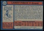 1974 Topps #215  Larry Finch  Back Thumbnail