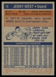 1972 Topps #75  Jerry West   Back Thumbnail