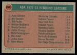 1973 Topps #238   -  Artis Gilmore / Mel Daniels / Bill Paultz ABA Rebounds Leaders Back Thumbnail