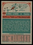 1973 Topps #219  Mike Lewis  Back Thumbnail