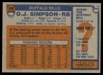 1976 Topps #300  O.J. Simpson  Back Thumbnail
