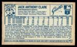 1979 Kellogg's #40  Jack Clark  Back Thumbnail