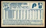 1979 Kellogg's #44  Larry Bowa  Back Thumbnail
