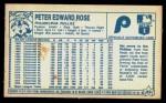 1979 Kellogg's #22  Pete Rose  Back Thumbnail