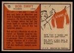 1965 Topps CFL #15  Bob Swift  Back Thumbnail