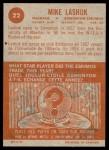 1963 Topps CFL #22  Mike Lashuk  Back Thumbnail