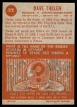 1963 Topps CFL #52  Dave Thelen  Back Thumbnail
