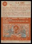 1963 Topps CFL #27  E.A. Sims  Back Thumbnail