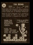 1964 Topps CFL #5   -  Tom Brown   Back Thumbnail